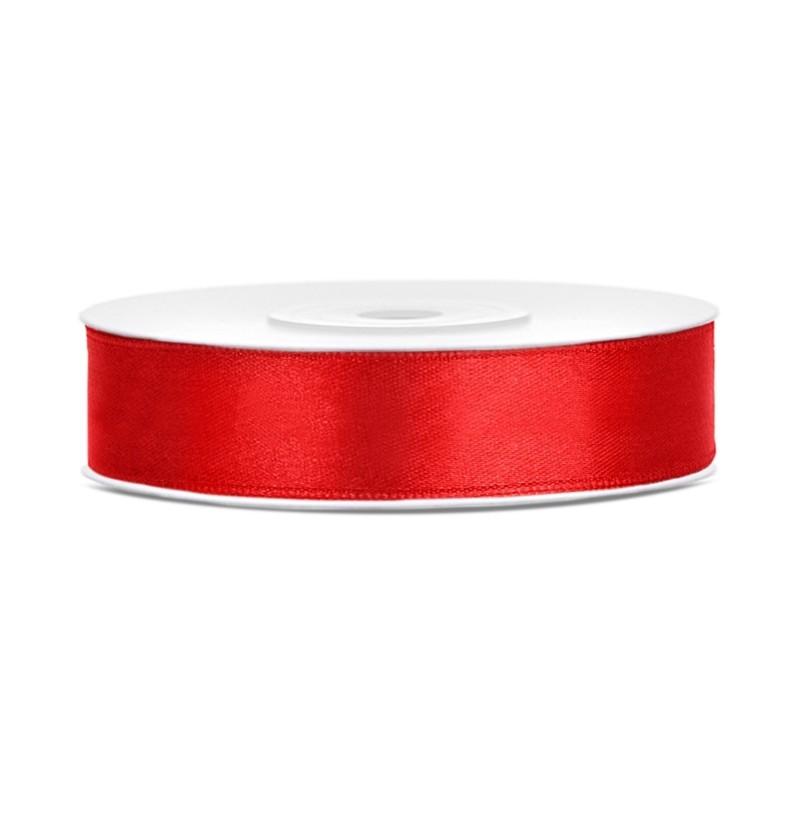 Cinta roja satinada de 12mm x 25m