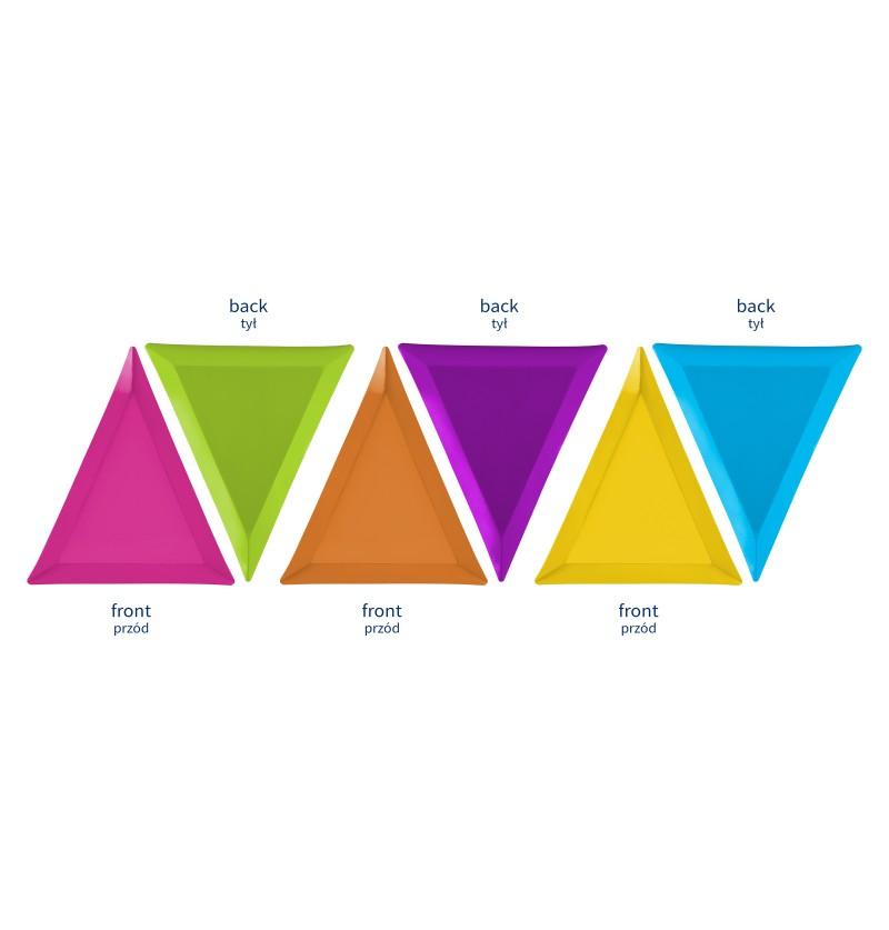 Set de 6 platos triangulares multicolor de papel - Monsters Party
