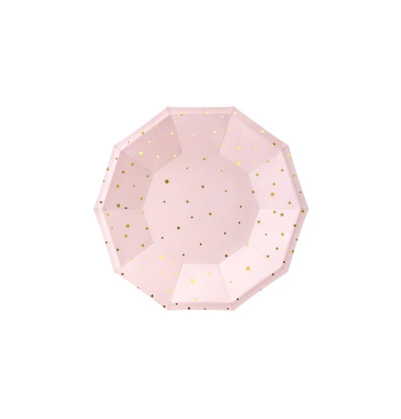Set de 6 platos rosas pastel con estrellas doradas de papel