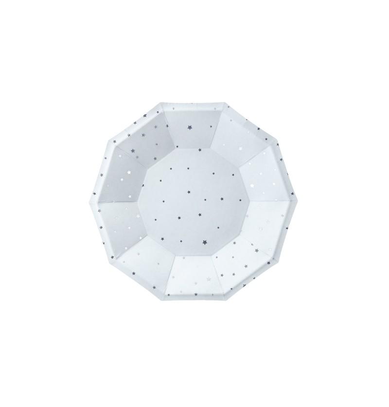 Set de 6 platos azul pastel con estrellas doradas de papel