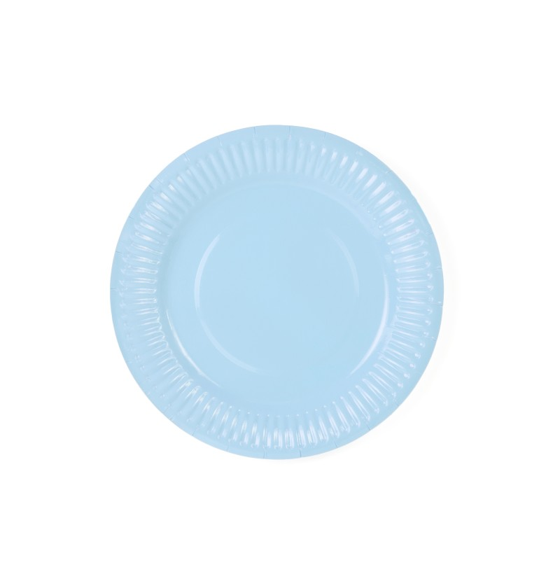 Set de 6 platos azul cielo de papel - Gender Reval Party