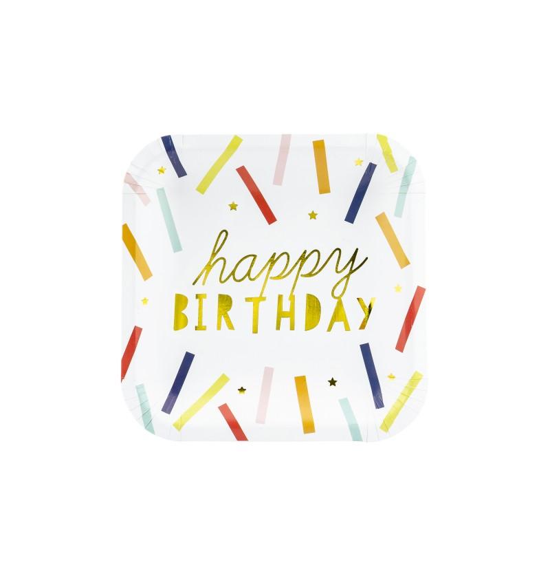 """Set de 6 platos cuadrados multicolor """"Happy Birthday"""" de papel"""