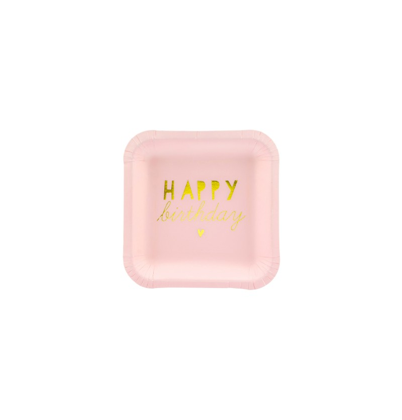 "Set de 6 platos cuadrados rosas pastel y dorado ""Happy birthday"" de papel"