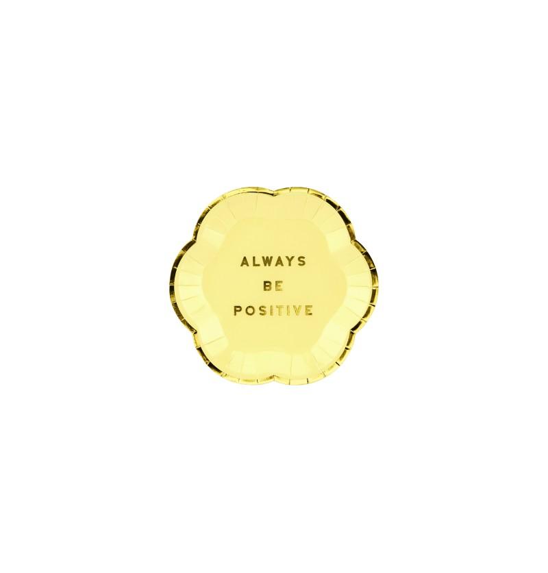"""Set de 6 platos amarillo pastel con borde dorado """"Always be positive"""" de papel - Yummy"""