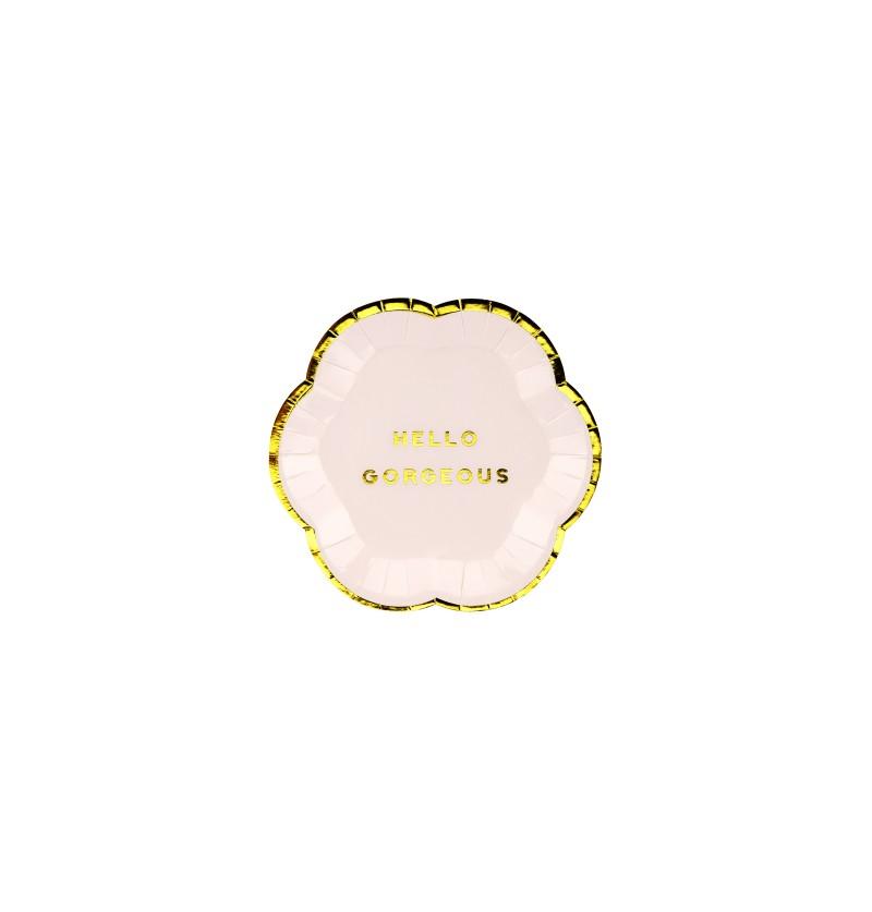 "Set de 6 platos rosas pastel con borde dorado ""Hello gorgeus"" de papel - Yummy"