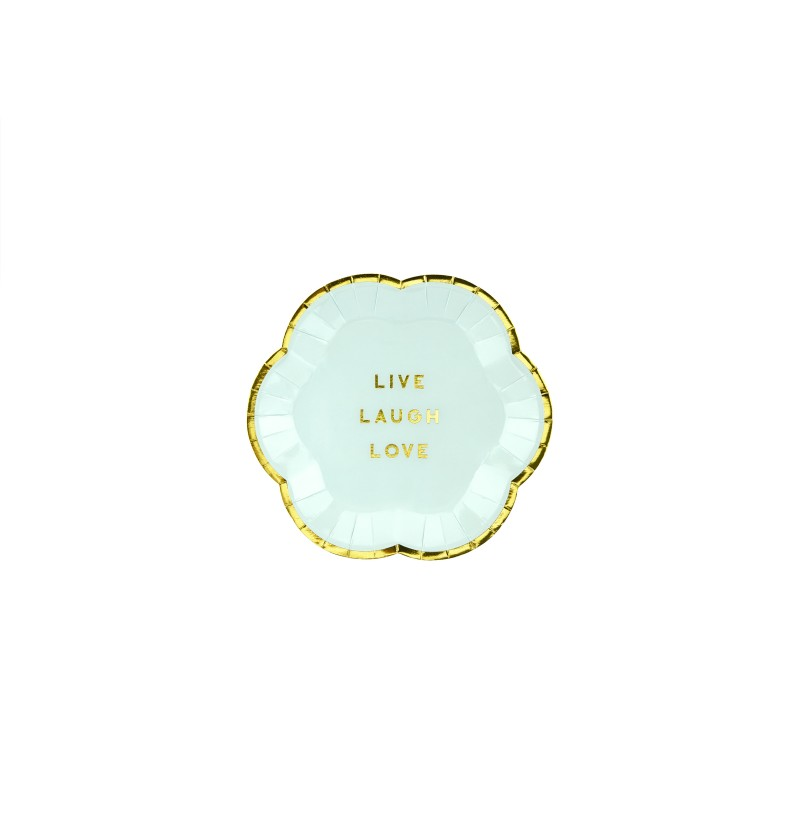 "Set de 6 platos azules pastel con borde dorado ""Live, Laugh, Love"" de papel - Yummy"
