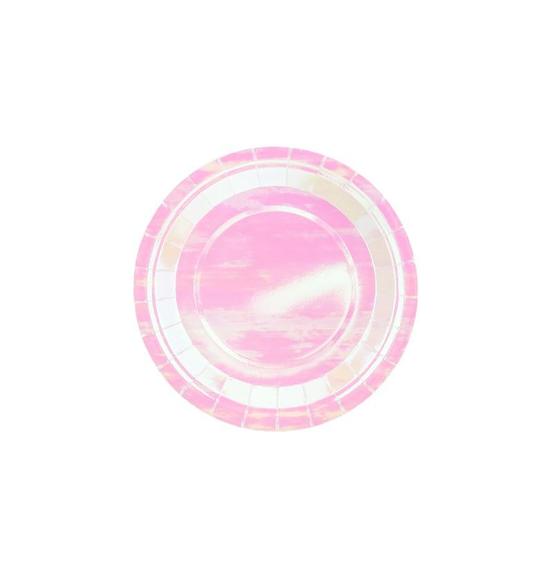 Set de 6 platos rosas iridescentes de 18 cm de papel - Iridescent