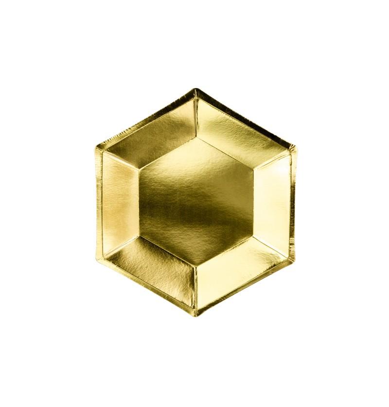 Set de 6 platos pentagonales dorados de papel - Gold Bridal Shower