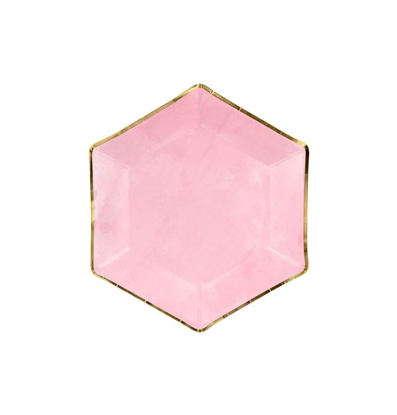 Set de 6 platos pentagonales rosas con bordes dorados de papel - Gold Bridal Shower