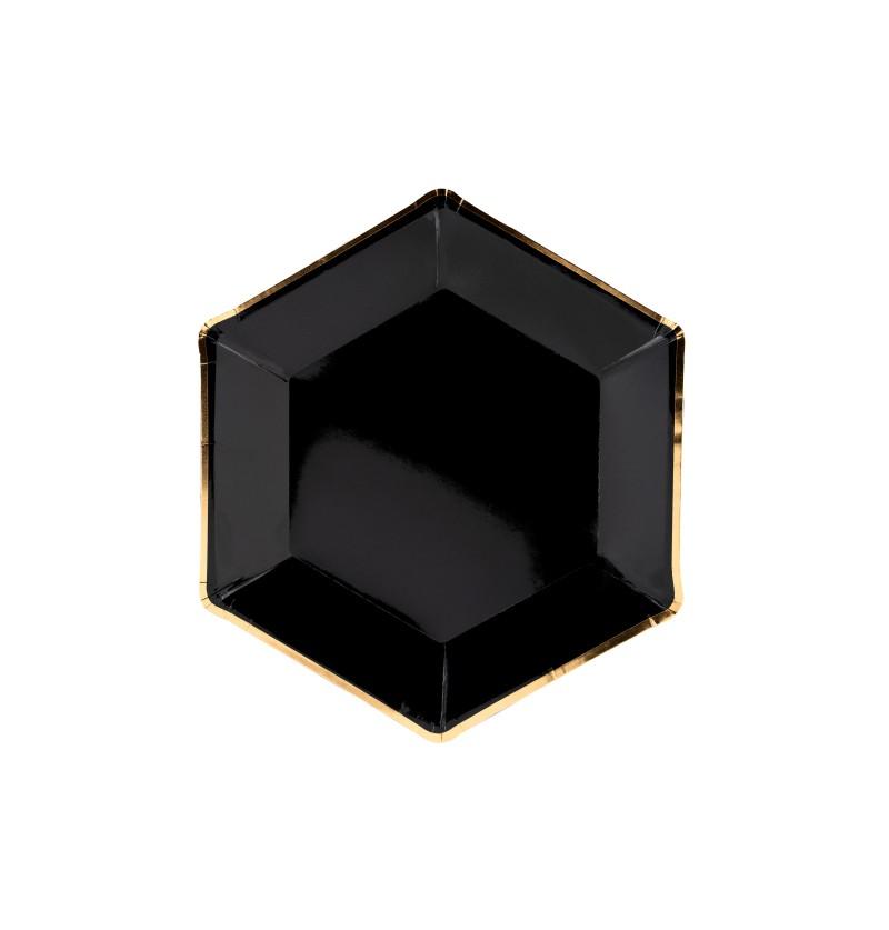Set de 6 platos pentagonales negros con bordes dorados de papel - Gold 30th Birthday