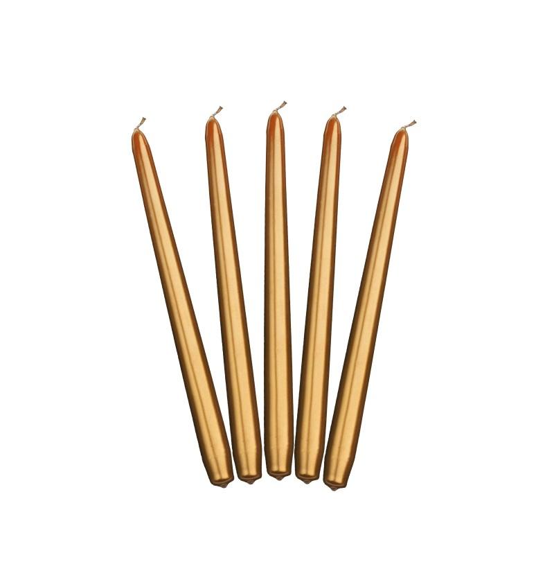 Set de 10 velas doradas de 29 cm