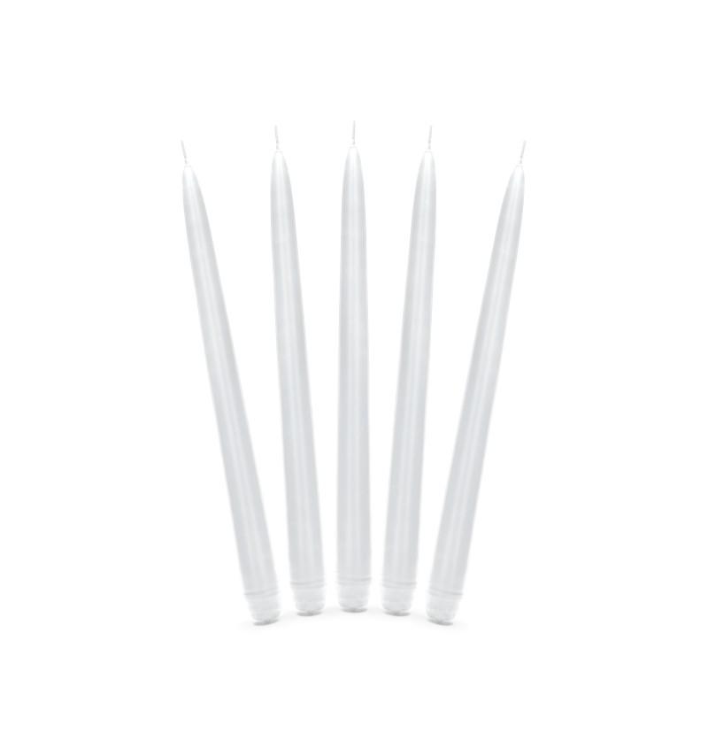 Set de 10 velas blancas de 29 cm