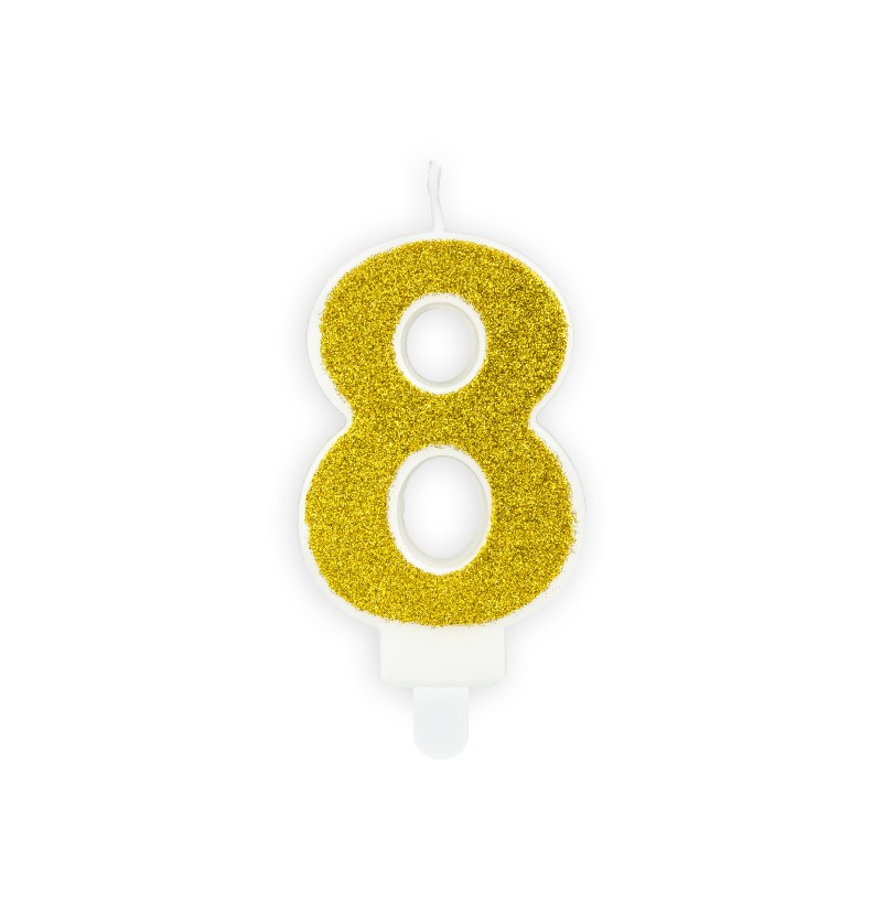 Vela de cumpleaños doradas número 8
