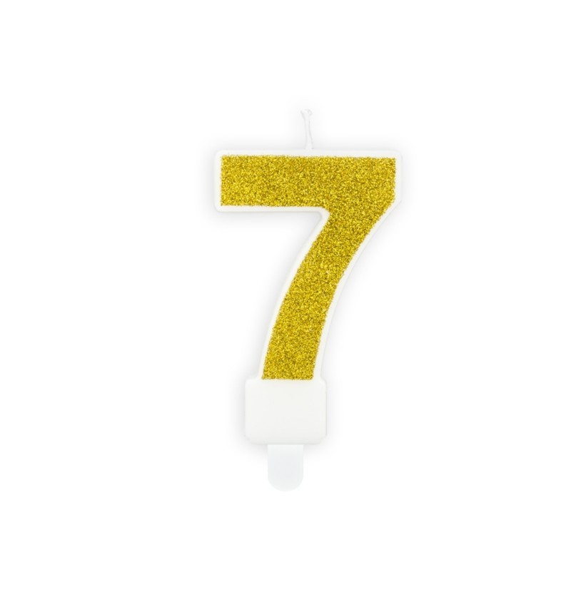 """Vela """"7"""" dorada"""