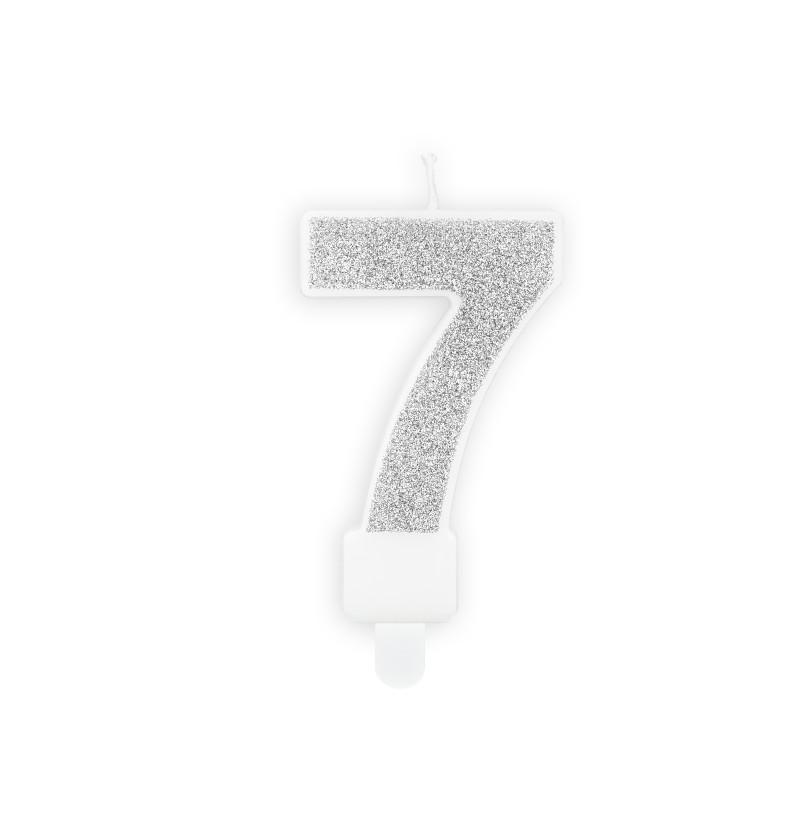 Vela de cumpleaños plateadas número 7