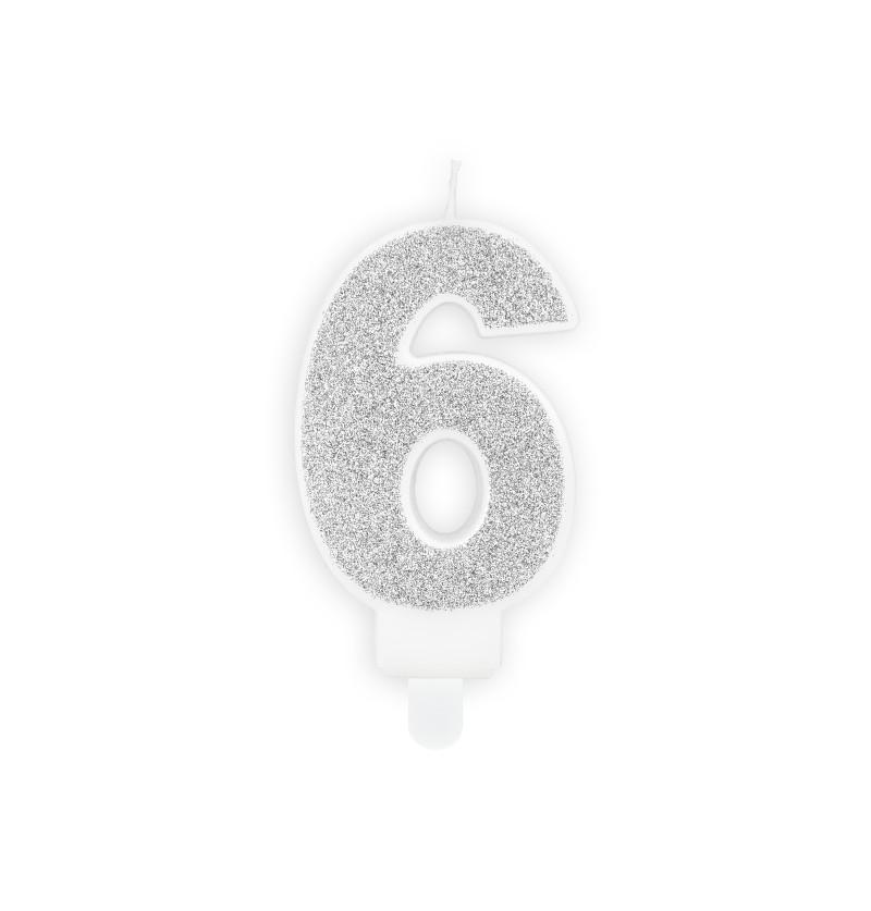 Vela de cumpleaños plateadas número 6
