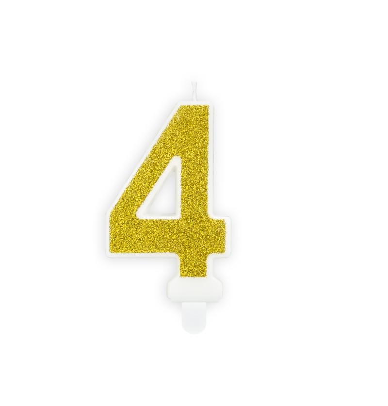 Vela de cumpleaños doradas número 4