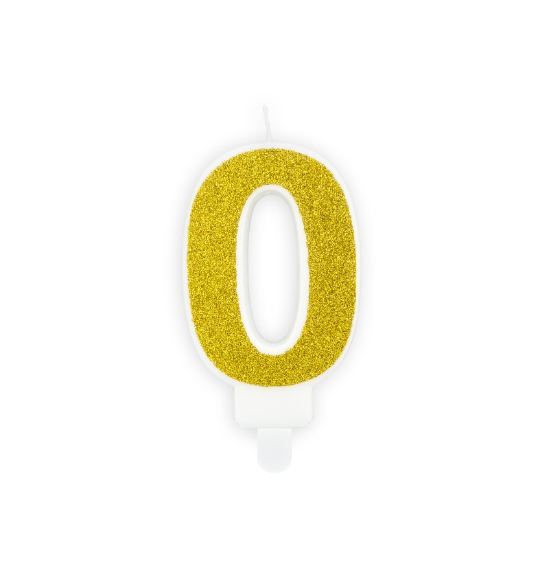 Vela de cumpleaños doradas número 0