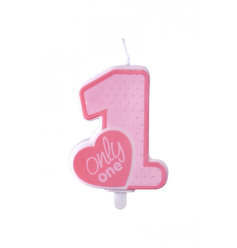 "Velas de cumpleaños ""Only One"" rosa - Pink 1st Birthday"