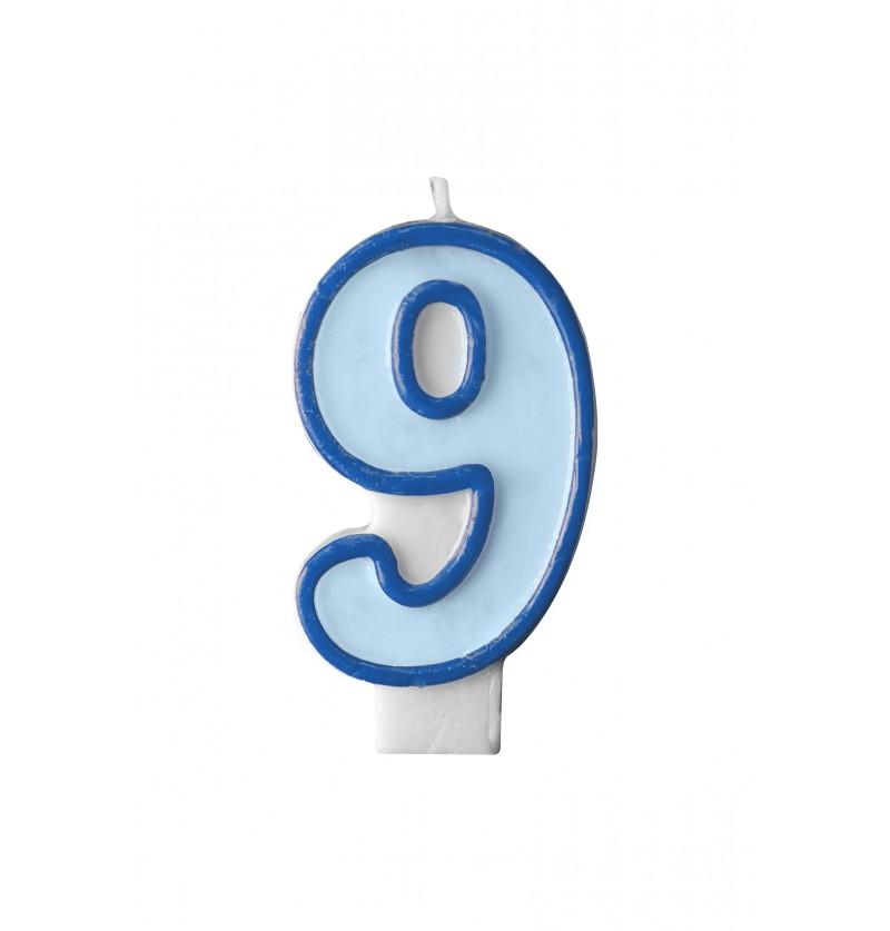 Vela de cumpleaños azul número 9