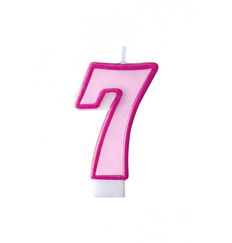 Vela de cumpleaños rosa número 7