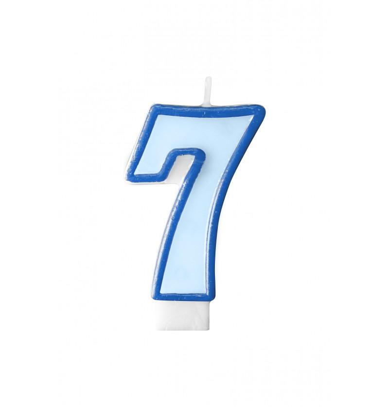 Vela de cumpleaños azul número 7