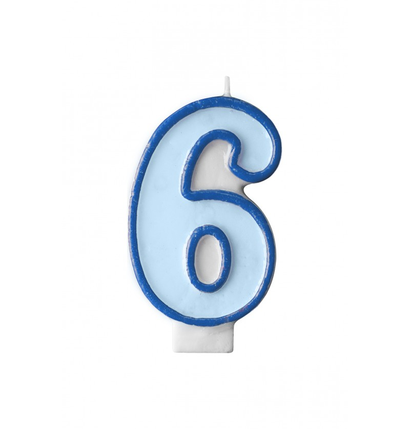 Vela de cumpleaños azul número 6