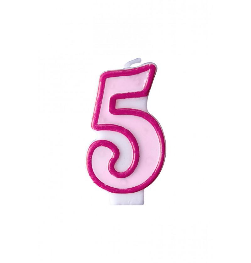 Vela de cumpleaños rosa número 5