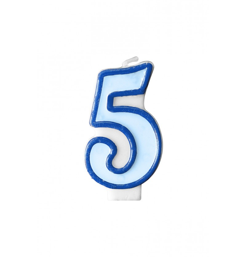 Vela de cumpleaños azul número 5