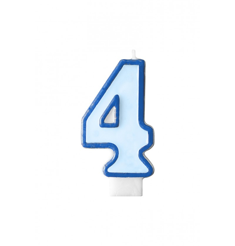 Vela de cumpleaños azul número 4