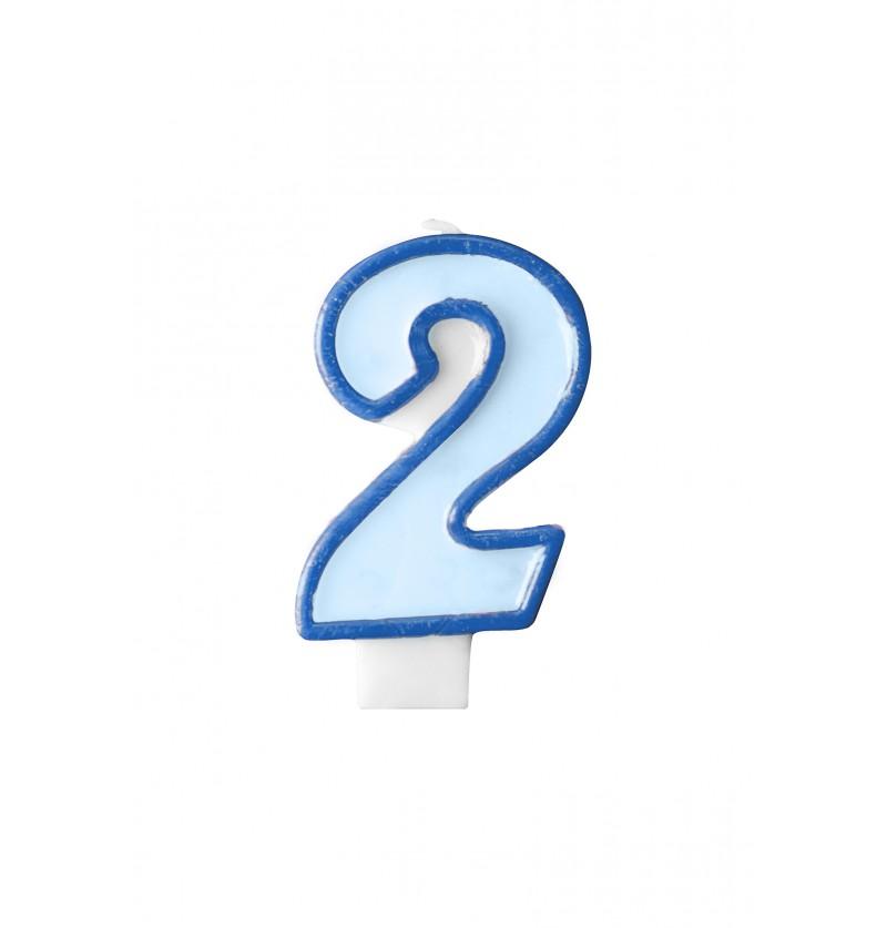 Vela de cumpleaños azul número 2