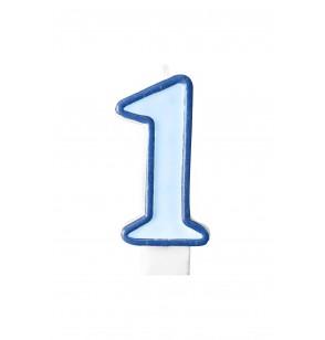 Vela de cumpleaños azul número 1