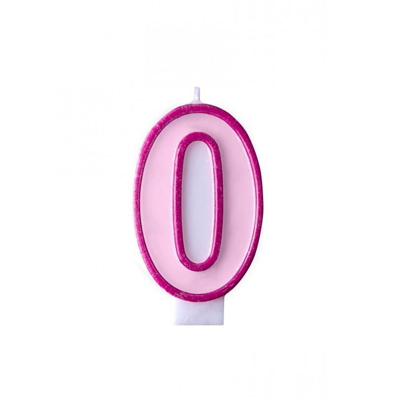 Vela de cumpleaños rosa número 0