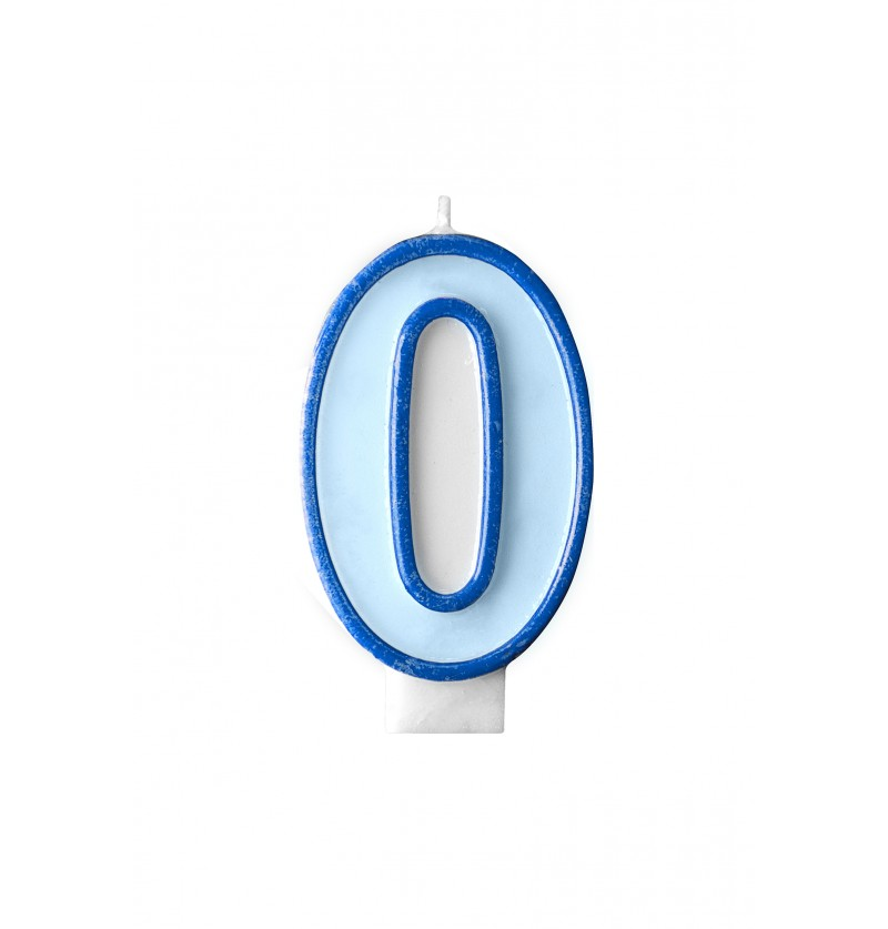 Vela de cumpleaños azul número 0