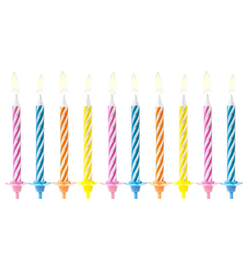 Set de 10 velas clásicas colores vivos