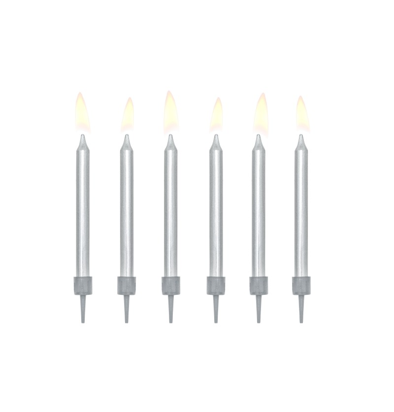 Set de 6 velas de cumpleaños plateadas de 6 cm