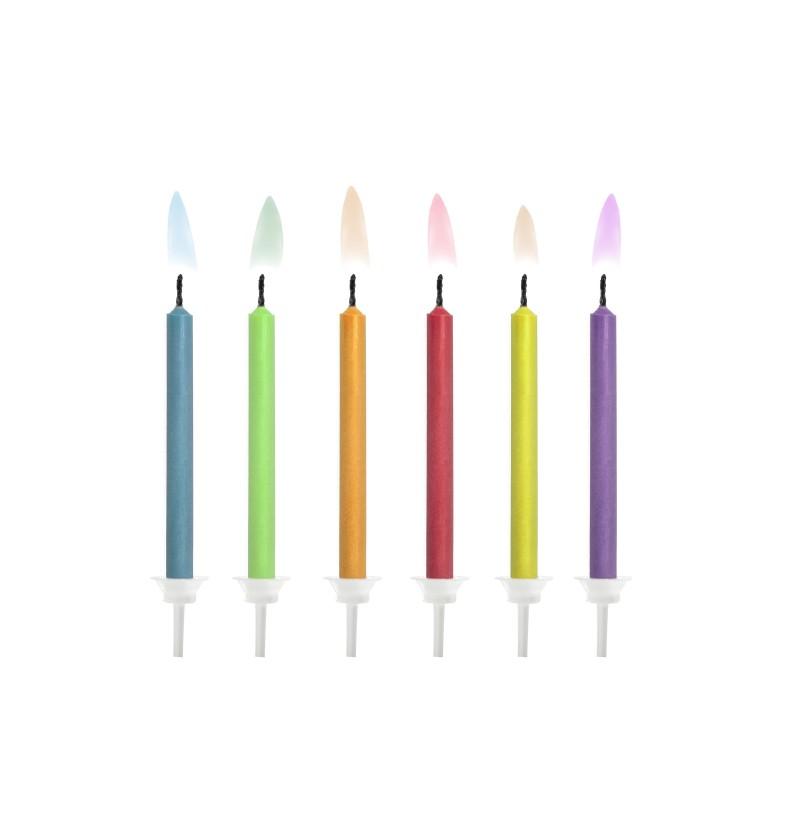 Set de 6 velas de cumpleaños multicolor con llamas de color
