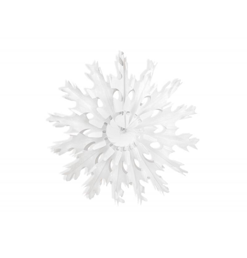 Rosetón decorativo con forma de copo de nieve blanco de papel de 45 cm