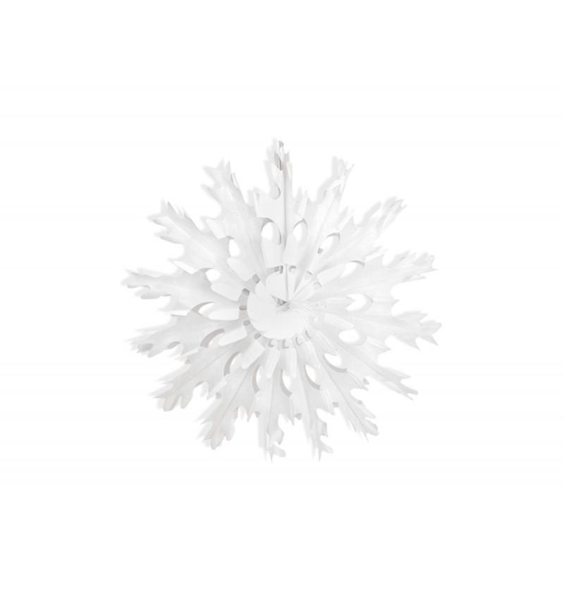 Rosetón decorativo con forma de copo de nieve blanco de papel de 37 cm