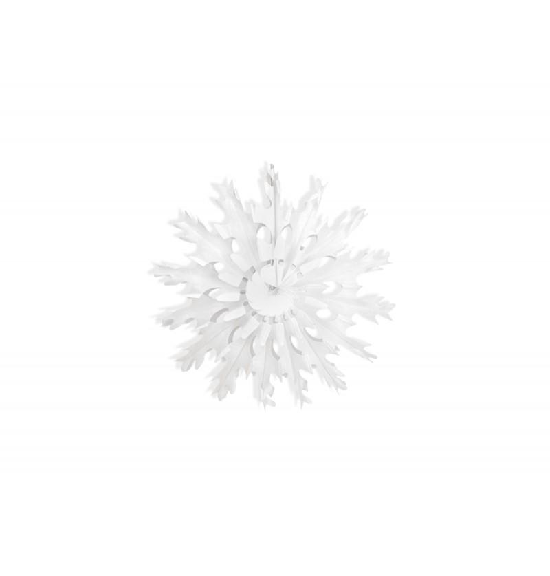 Rosetón decorativo con forma de copo de nieve blanco de papel de 25 cm