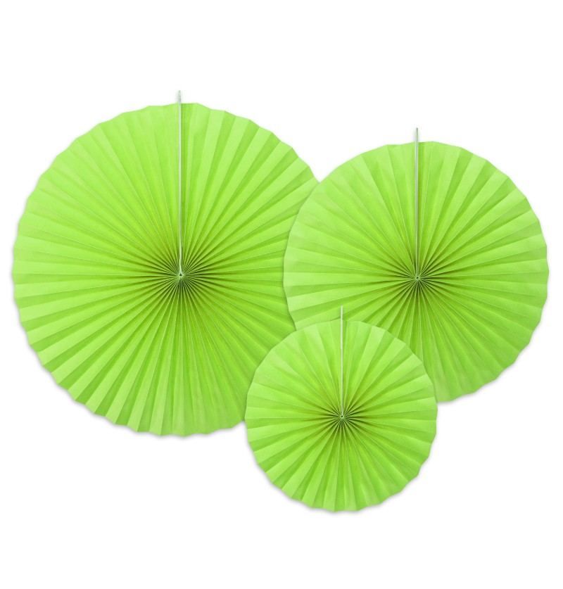 Set de 3 rosetones decorativos verde lima de papel