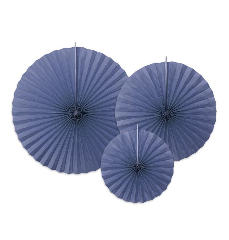 Set de 3 rosetones decorativos azul marino de papel