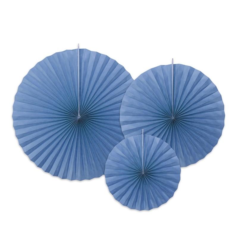 Set de 3 abanicos decorativos variados azul de papel
