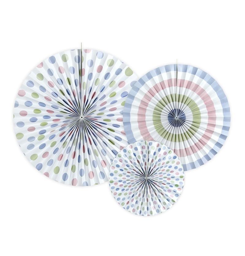Set de 3 abanicos decorativos variados con estampado de multicolor de lunares