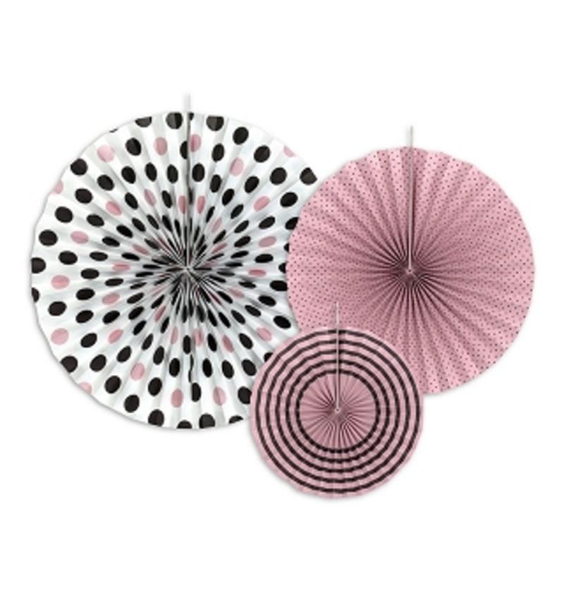 Set de 3 abanicos decorativos rosas estampado lunares de papel - Sweets