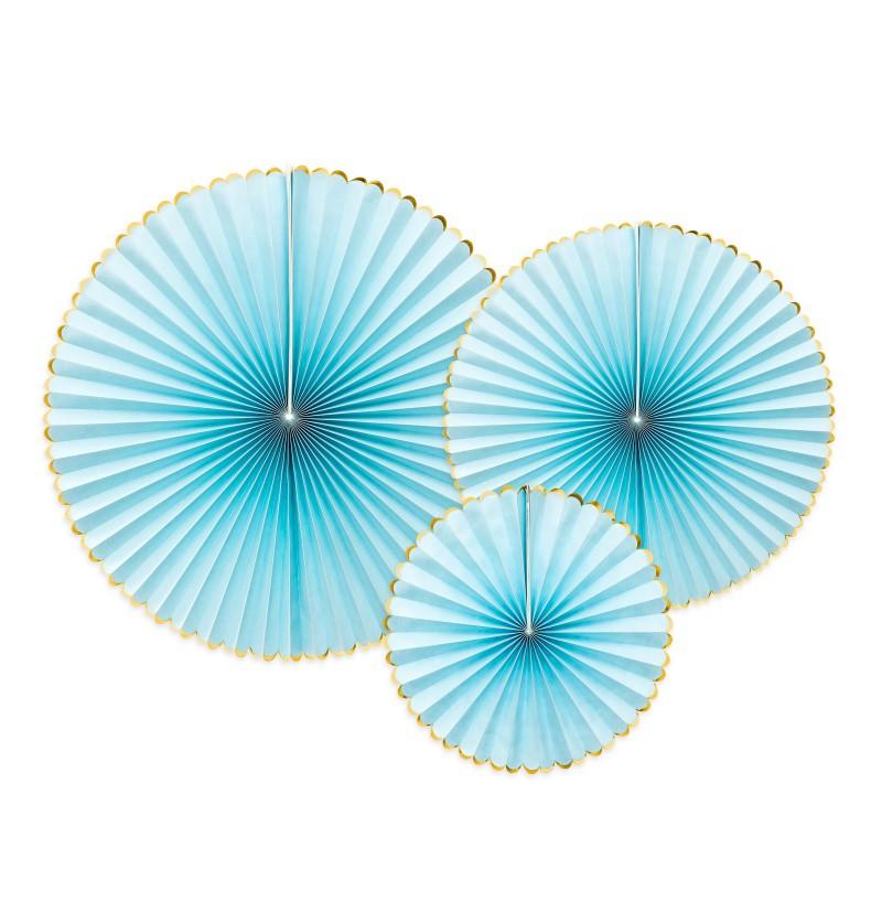 Set de 3 rosetones decorativos azul cielo con borde dorado de papel  - Yummy