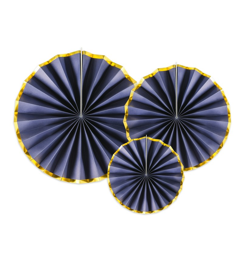 Set de 3 rosetones decorativos azul marino con borde dorado de papel