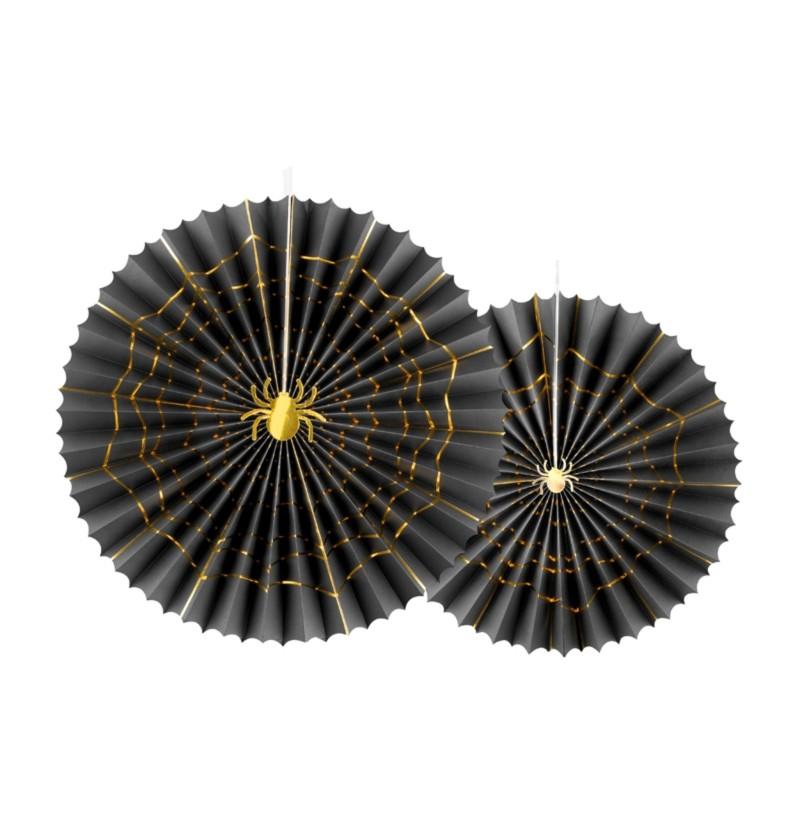 Set de 2 abanicos decorativos negros con araña dorada de papel - Trick or Treat Collection