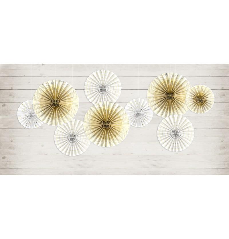 Set de 4 rosetones decorativos blancos de papel