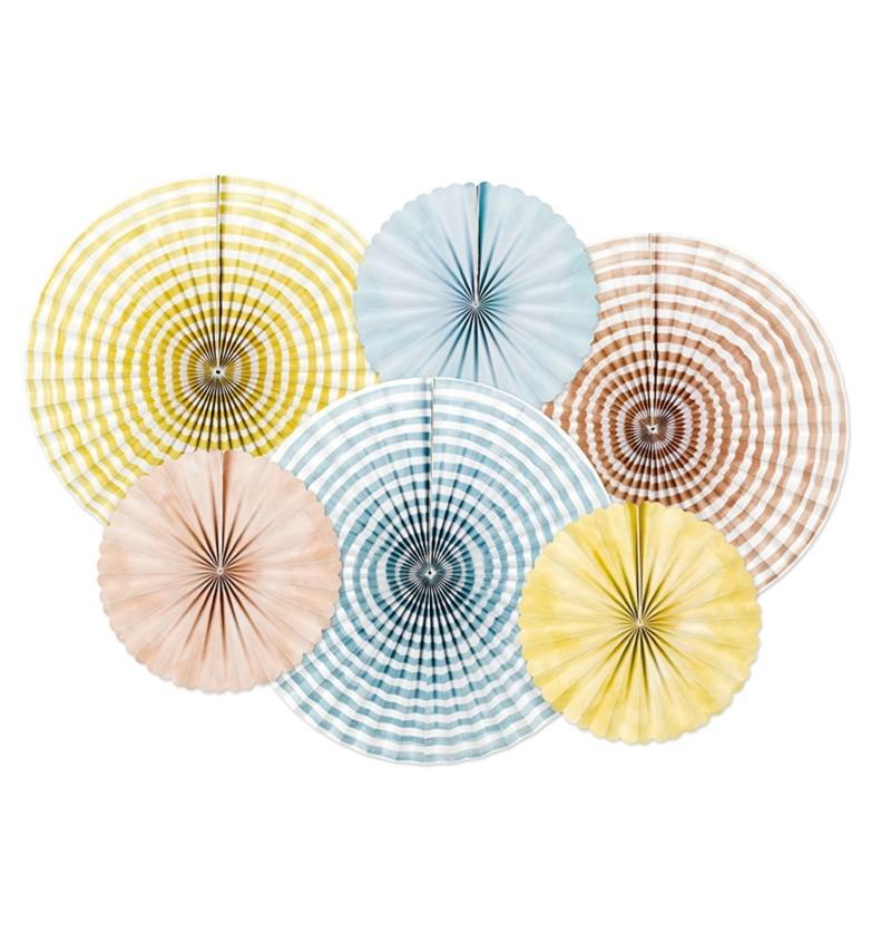 Set de 6 abanicos decorativos variados estampado de rayas